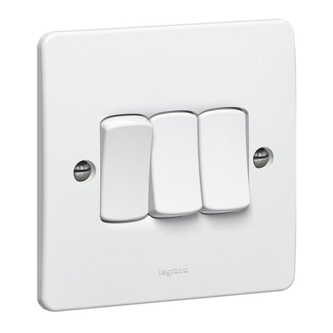 Synergy White - 3 gang 1 way switch  - Legrand 730124