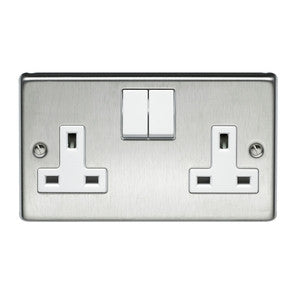 Volex Stainless Steel 13A double switch socket without neon - Ahuja Electricals - UAE largest distributors of electricals goods