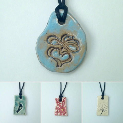 Ceramic necklaces by local maker Sheilleigh Buckingham. $20.00 each.