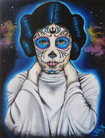 """Princess Leia"" by JenX, $240. Part of Calavera Prelude, an art celebration and fundraising show for Bare Hands 14th Day of the Dead Festival! 10% of show sales benefit the Festival."