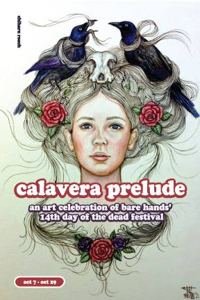 "Chiharu Roach's artwork was chosen to be featured on the postcard for ""Calavera Prelude"" Through Oct 29 An art celebration and fundraising show for Bare Hands 14th Day of the Dead Festival!"