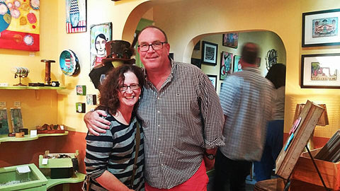 Wendy Jarvis and Pat Snow, at the opening reception for Calavera Prelude, an art celebration and fundraising show for Bare Hands 14th Day of the Dead Festival! 10% of show sales benefit the Festival.