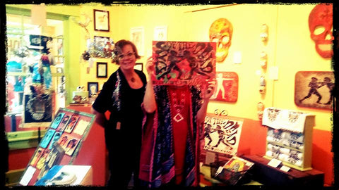 """Calavera Prelude"" Through Oct 29 An art celebration and fundraising show for Bare Hands 14th Day of the Dead Festival! Here with Kim Graham Smith and an anonymous lady hiding behind Andrew Cost art"