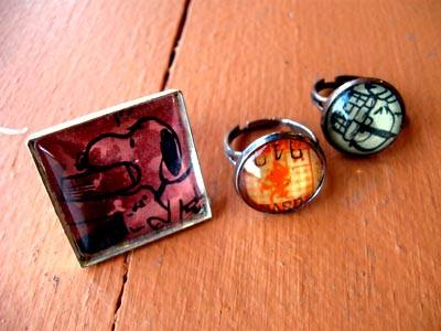 Square and round rings with vintage images by local maker Connie Hulsey. $10.00 and $14.00