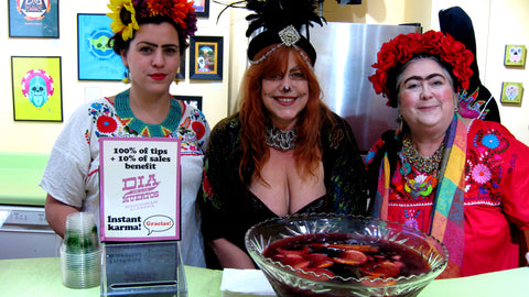 "Guest bartenders: Bare Hand's Dia de los Muertos' ""Festival Fridas and Diegos"", 100% of tips will benefit the organization"