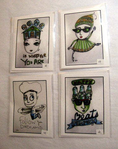 """New Optimist"" greeting cards with envelope (blank inside) by local artist Véro. $4.00 each"