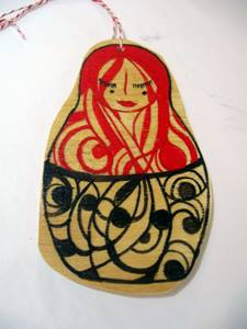 Russian doll ornament by Michelle Prahler. $12