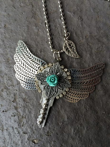 Winged key necklaces by local maker Victoria Puckett. $30.00.