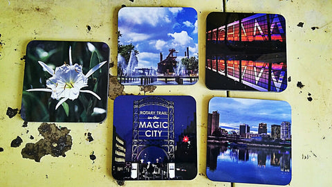 Set of 4 Birmingham photography coasters by Rachel Callahan. $50.00 (or $15.00 a piece).