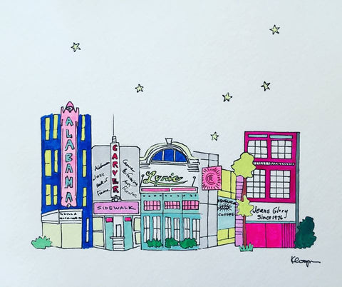 Theater district, print or original drawing by local artist Kathryn Cooper. $25.00