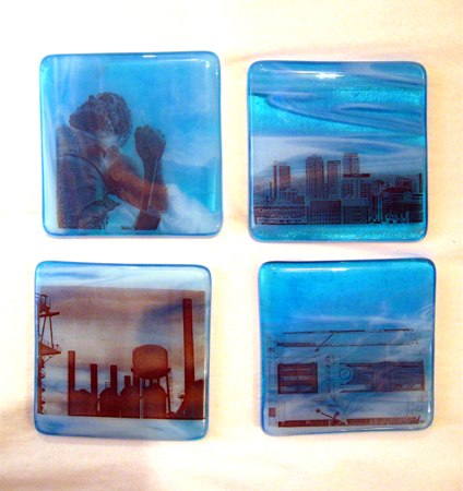 Fused glass coasters by local artist Mimi Boston. $22 each or $75 for a set of 4