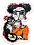 Sticker - Frida and her monkey