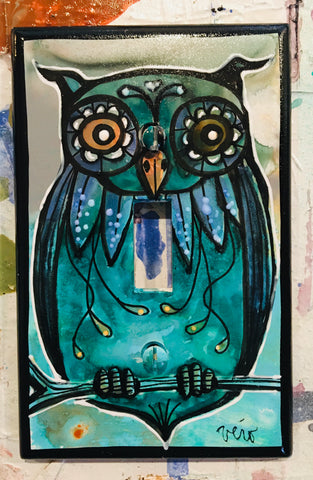 Single Light Switch Plate - Owl 1