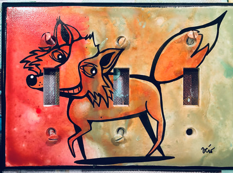 Triple Light Switch Plate - Mr Fox