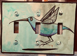 Triple Light Switch Plate - Hummingbird