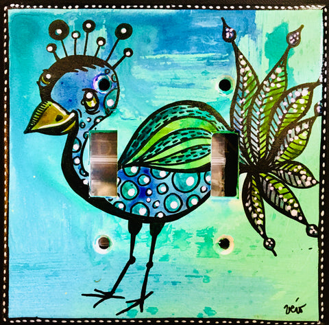 Double Light Switch Plate - Peacock 2