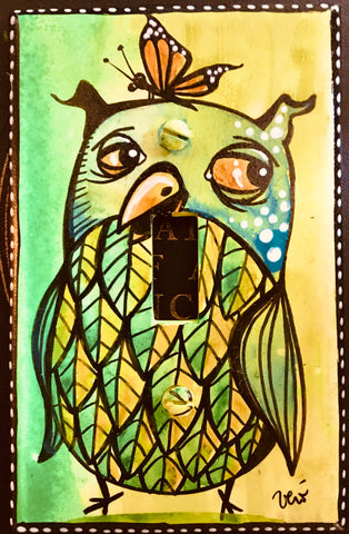 Single Light Switch Plate - Owl 2