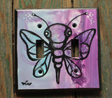 Double Light Switch Plate - Moth