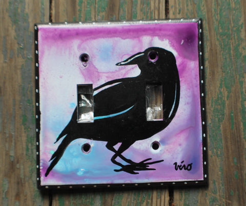 Double Light Switch Plate - Crow