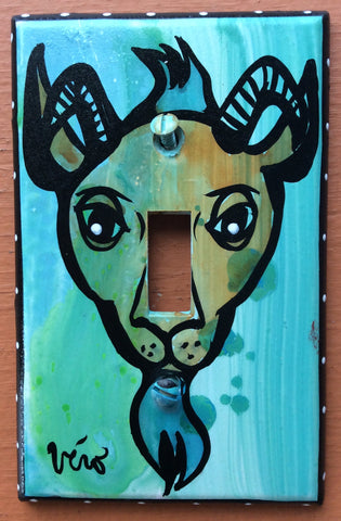 Single Light Switch Plate - Goat
