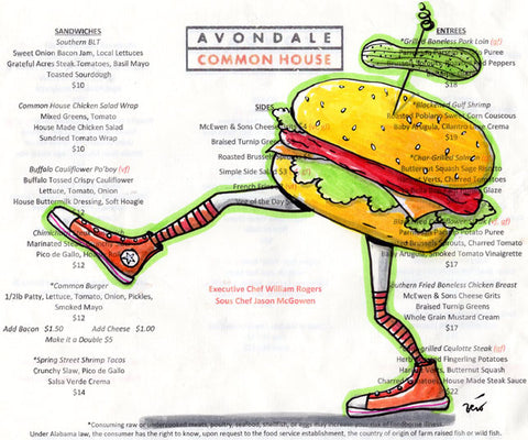 Menu drawing - Avondale Common House