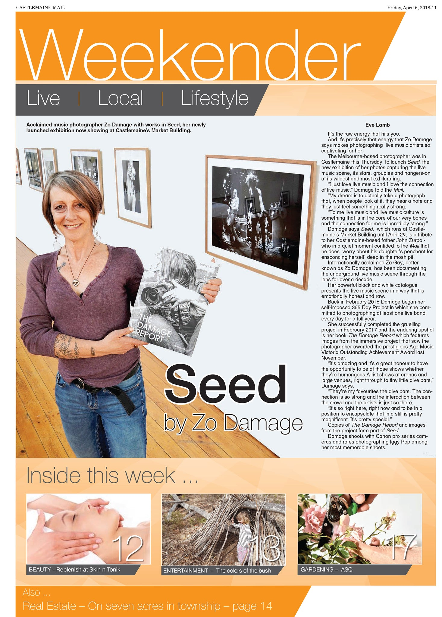 Eve Lamb (Castlemaine Mail) on the Zo Damage SEED exhibition.