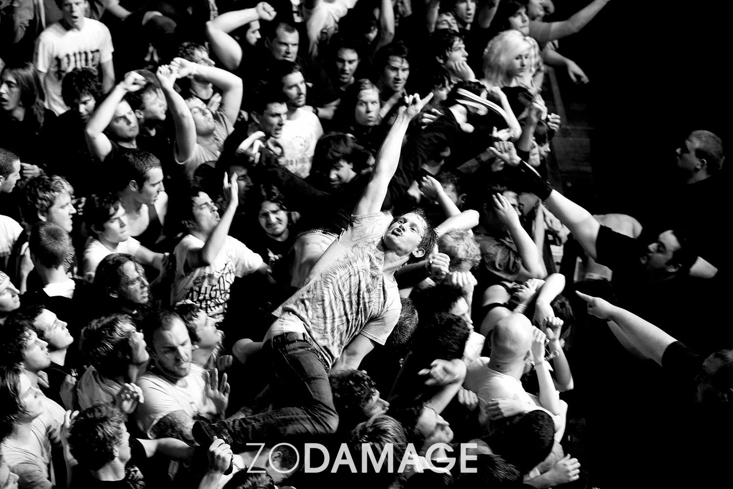 Untitled II (Crowd surfers / Parkway Drive), The Palace Theatre 2009 © Zo Damage
