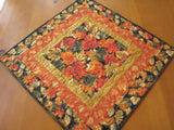 Autumn Leaves Handmade Quilted Table Topper Gold Orange Black