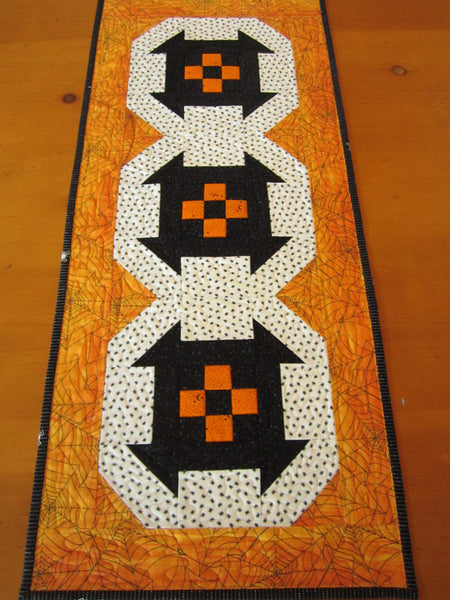 Halloween Table Runner Handmade Quilted Black And Orange