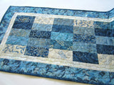 Blue Batik Quilted Table Runner
