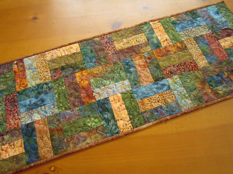 Handmade Quilted Batik Table Runner Patchwork Rustic Home Decor