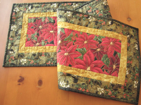 Christmas Quilted Table Runner with Poinsettias
