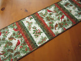 Christmas Table Runner with Birds and Pine Cones