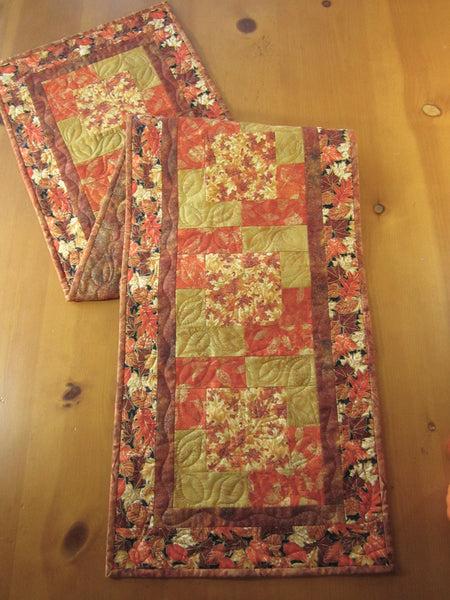 Fall Quilted Table Runner with Leaves