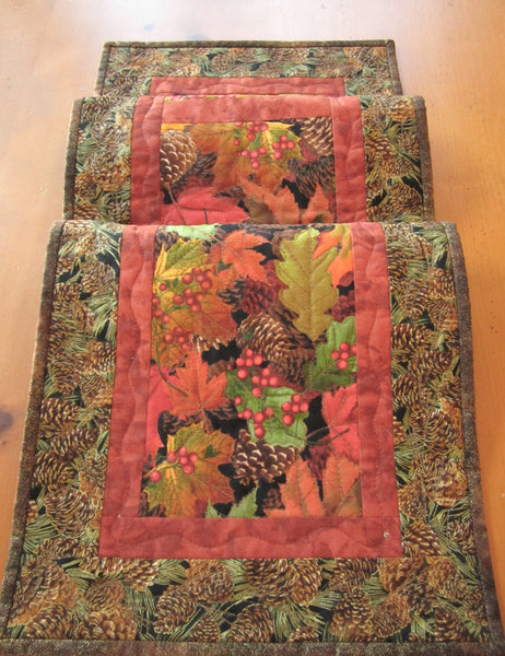 Fall Table Runner Quilted Handmade Pine Cones and Leaves