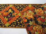 Fall Table Runner with Pumpkins and Oak Leaves