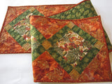 Fall Colors Quilted Table Runner with Leaves