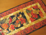 Fall Quilted Table Runner Birds and Autumn Leaves Handmade Home Decor