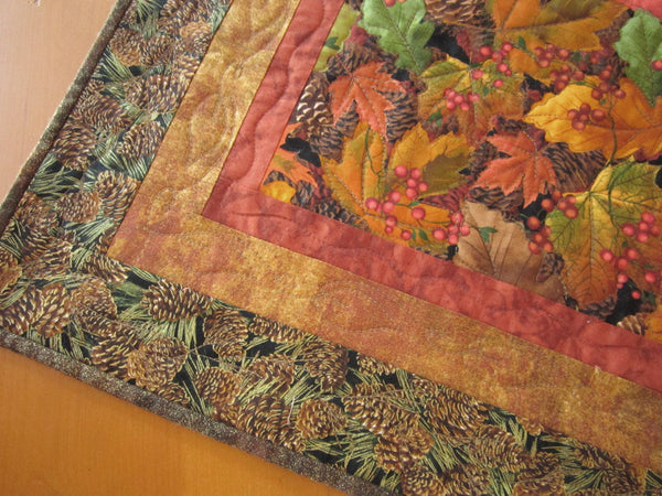 Fall Table Topper Quilted Leaves and Pine Cones