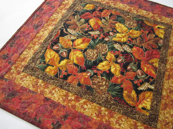Fall Quilted Table Topper with Leaves and Pine Cones