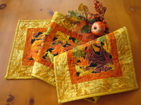 Fall Leaves Table Runner Handmade Quilted Table Decor Home Decor