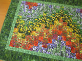 Floral Wall Quilt, Bargello Art Quilt, Table Quilt