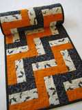 Halloween Quilted Table Runner with Bats and Stars
