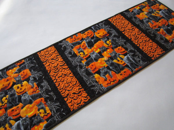 Halloween Quilted Table Runner, Bats, Cats and Pumpkins