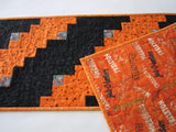Halloween Table Runner Orange and Black with Stars