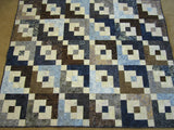 Batik Quilt in Blue and Brown