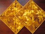 Pot Holders Maple Leaves and Forest Set of 2 Fall Potholders Handmade