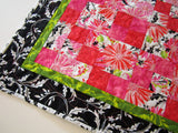 Quilted Table Topper Pink Floral and Black Handmade Tabletop