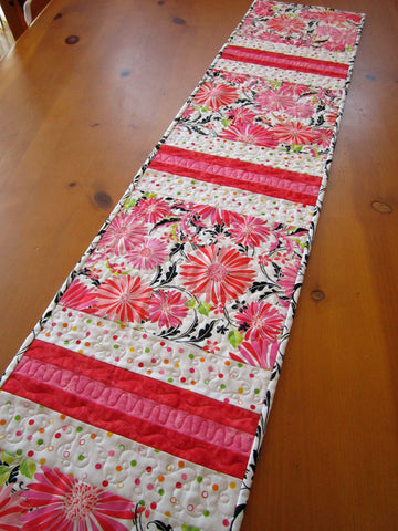 Handmade Quilted Table Runner Floral Stripe Pink and White Table Linen Home Decor Gift
