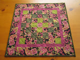 Table Topper Quilted Paisley Pink and Black Handmade Patchwork Tabletop Made in USA Home Decor